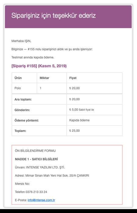 woocommerce mesafeli satış sözleşmesi sipariş mailindeki görünümü