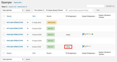 yurtiçi kargo siparişler liste ekranına hızlı işlem özelliği eklendi