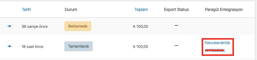 Parasut entegrasyonu oluşan fatura siparişler sayfasında görünümü